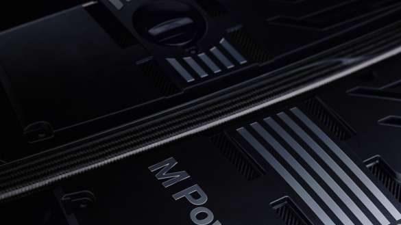 BMW X3 M Competition F97 LCI Facelift 2021 M Carbon Präzisionsstrebe Nahaufnahme Motorabdeckung