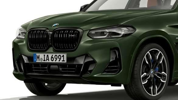 BMW X3 M40i M40d G01 LCI Facelift 2021 Malachitgrün metallic M Aerodynamikpaket Frontschürzel